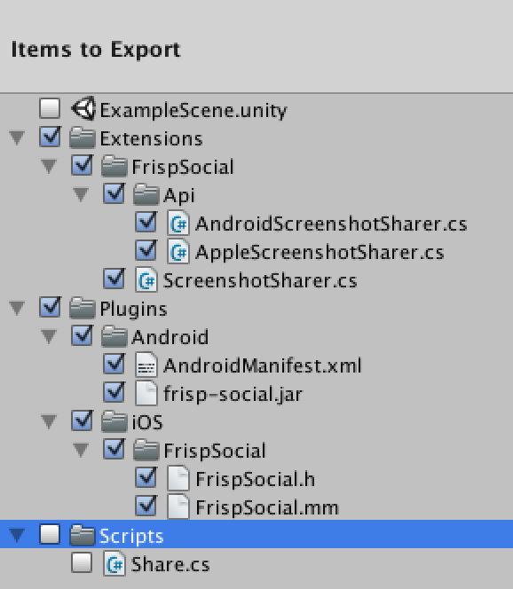 Export Unity package